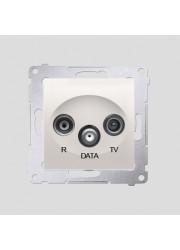 Gniazdo R-TV-DATA kremowe