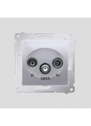 Gniazdo R-TV-DATA srebrny mat