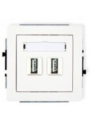 Gniazdo podwójne USB białe
