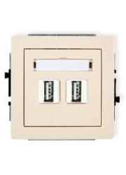 Gniazdo podwójne USB beżowe
