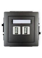 Gniazdo podwójne USB grafitowe