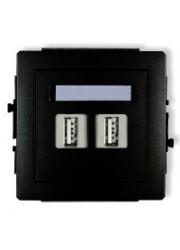 Gniazdo podwójne USB czarne