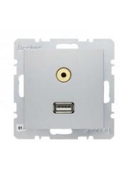 Gniazdo USB/3.5 mm audio alu