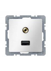 Gniazdo USB/3.5 mm audio białe